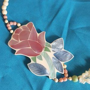 Vtg Pink Rose Necklace